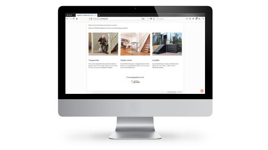 Webdesign von Liftstore eine Seite der Webseite