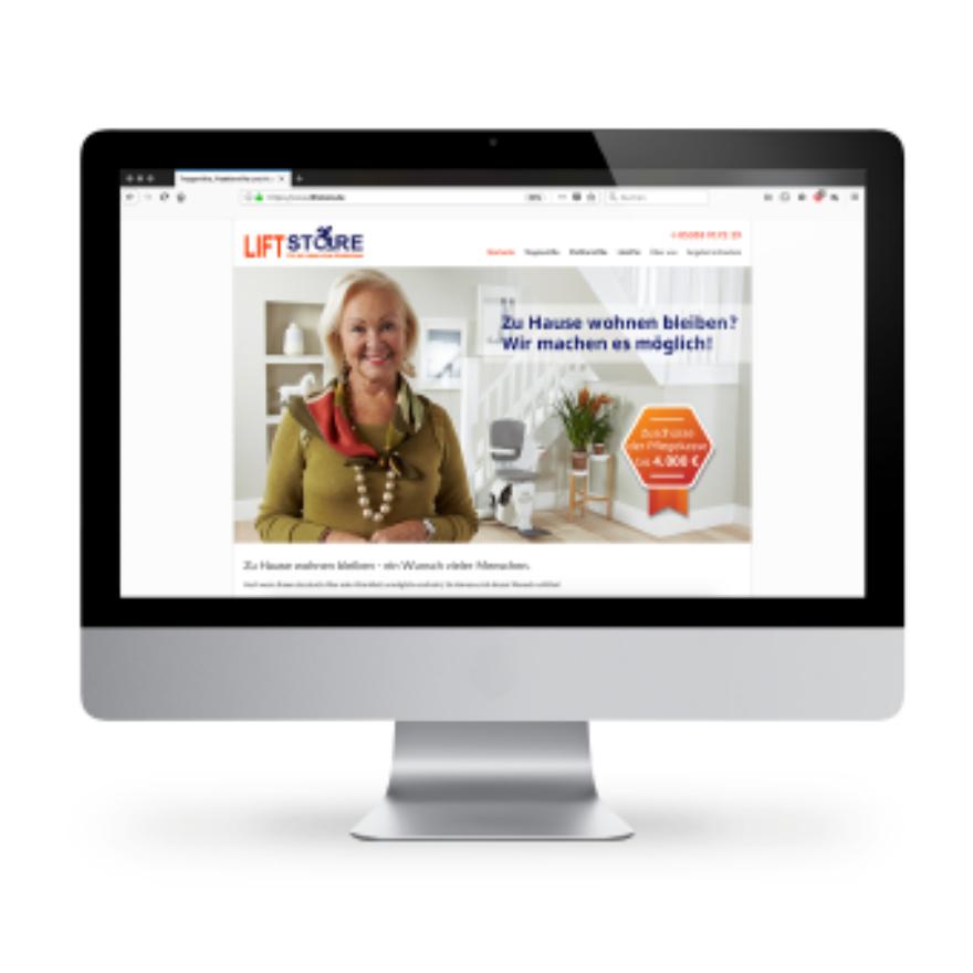 Webdesign von Liftstore Landingpage